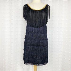 Black fringe flapper costume dress M